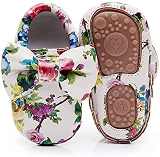 HONGTEYA Baby Moccasins with Rubber Sole - Flower Print PU Leather Tassel Bow Girls Ballet Dress Shoes for Toddler