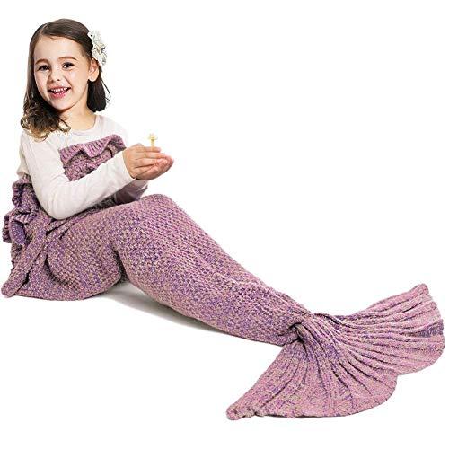 Jr.Hagrid Meerjungfrau Decke Personalisierte Handgemacht Gestrickt Warmes Wohnzimmer Sofa Decke Kinder Weihnachts Geburtstagsgeschenk Meerjungfrau Strickmuster Schlafsack (Dark Pink)