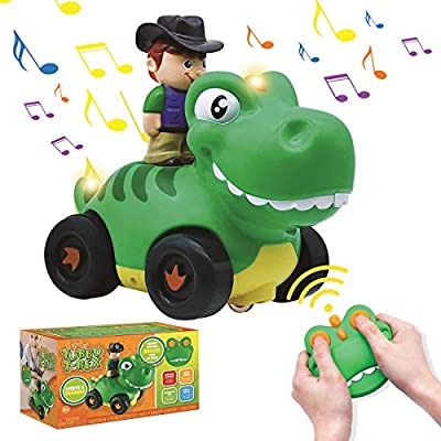 JOYIN Dinosaur Remote Control Toy Car for Kids, Toy Cars with Music and Sound, Toddler Toys for Boys and Girls Age 3, Basket Stuffers and Birthday Gifts, Classroom Prize and Treasure Box Toys from Joyin Inc