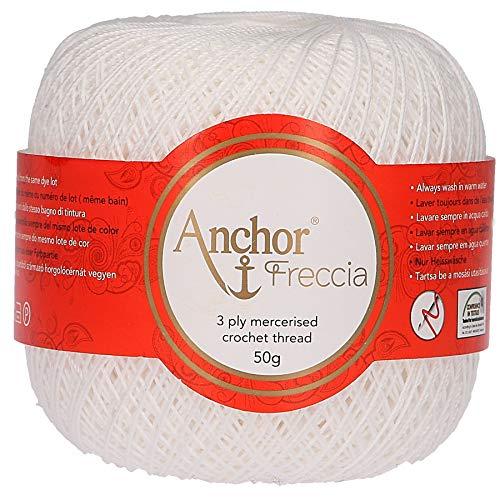 Anchor Freccia Stärke 6 4771006-07901 weiß Häkelgarn, 100 % Baumwolle