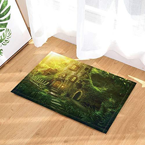hdrjdrt Alfombra de baño tropical con bosque de madera al atardecer, antideslizante, para entrada interior, puerta delantera, alfombrilla de baño para niños, 60 x 40 cm, accesorios de baño