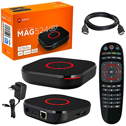 mag 524w3 Original Infomir & HB-DIGITAL 4K IPTV Set Top Box Reproductor Multimedia Internet TV Receptor IP # 4K UHD 60FPS 2160p@60 FPS HDMI 2.0# Soporte HEVC H.256 # Arm Cortex-A53 + Cable HDMI