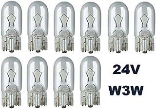 24 Volt   10 Stück   W 3W   T10   W2,1x9,5d   3Watt   Nfz LKW Beleuchtung   Glühlampe, Glassockellampe, Glühbirne, Soffitte, Lampen. mit E Prüfzeichen [STVZO zugelassen]   Hallenwerk