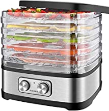 EVERUS Food Dehydrator Machine Food Dryer Dehydrator for Beef Jerky, Fruits, Vegetables, Adjustable Temperature Control Electric Food Dehydrator with 5 BPA-free Trays, 240W, Recipe Book Included