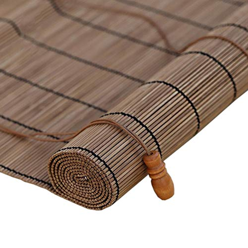 JIAYUAN rolgordijnen gemaakt van bamboe, voor ramen, kleur van het rolgordijn buiten, UV-bescherming, 90% roman