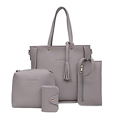 Clearance!! 4 Pcs Womens Bags SFE Women Handbag Shoulder Bags Tote Bag Crossbody Wallet Four Pieces