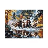 Pintura Por Numeros Diy Pintura Al Oleo De Lona Digital Niños Niños Cumpleaños Boda Nuevo Alojamiento Decoración Navideña Regalo-River Horse-Frameless_40 * 50Cm