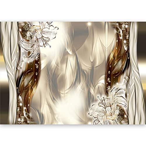 murando - Fototapete XXL Abstrakt 500x280 cm Vlies Tapeten Wandtapete XXL Moderne Wanddeko Design Wand Dekoration Wohnzimmer Schlafzimmer Büro Flur Blumen Lilien Diamant a-C-0041-a-b