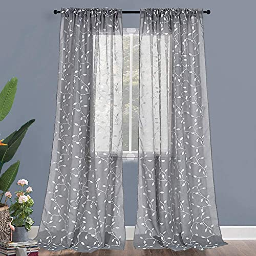 Faux Linen Leaf Embroidery Semi Sheer Curtains for Living Kids Room - White Leaf Pattern and Grey Background Rod Pocket Sheer Curtain Panels for Bedroom (52 Wx95 Inch Length,2 Panels)