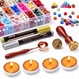 Wax Seal Stamp Kit, YUWANTING 760PCS Wax Seal Kit with Sealing Wax Beads, Wax Seal Stamps, Tea Candles, Wax Melting Spoon, and Decorating Pen for Craft