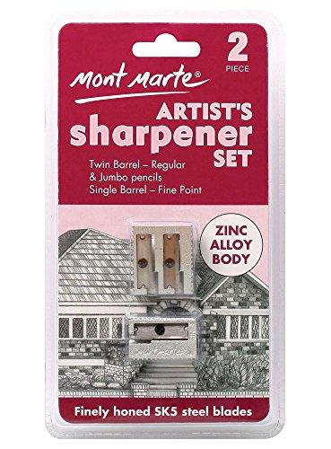 Mont Marte Anspitzer Set – 2 Stück, Hochwertige Doppelspitzer & Einzelspitzer – Ideal zum anspitzen von Bleistiften und Aquarellstiften – Perfekt für Anfänger, Profis und Künstler