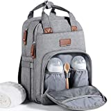 Baby Changing Bag Backpack, Diaper Bag Nappy Back Pack with Changing Mat for Mom and Dad (Grey)