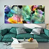 N / A Colorful Abstract Painting Wide Brush Canvas Painting Wooden Frame Poster Print Mural Picture Living Room Home Decoration Frameless 50x100cm