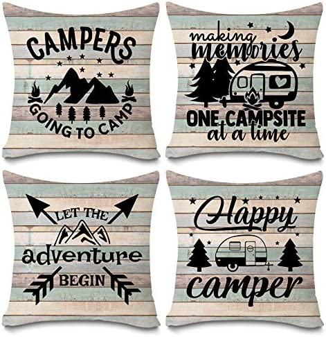 Happy Camper Pillow Covers Vintage Rustic Wood Background Inspirational Quotes Home Outdoor product image