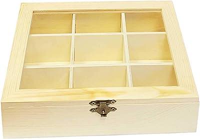 Caja de madera natural 9 compartimentos con tapa de cristal y ...