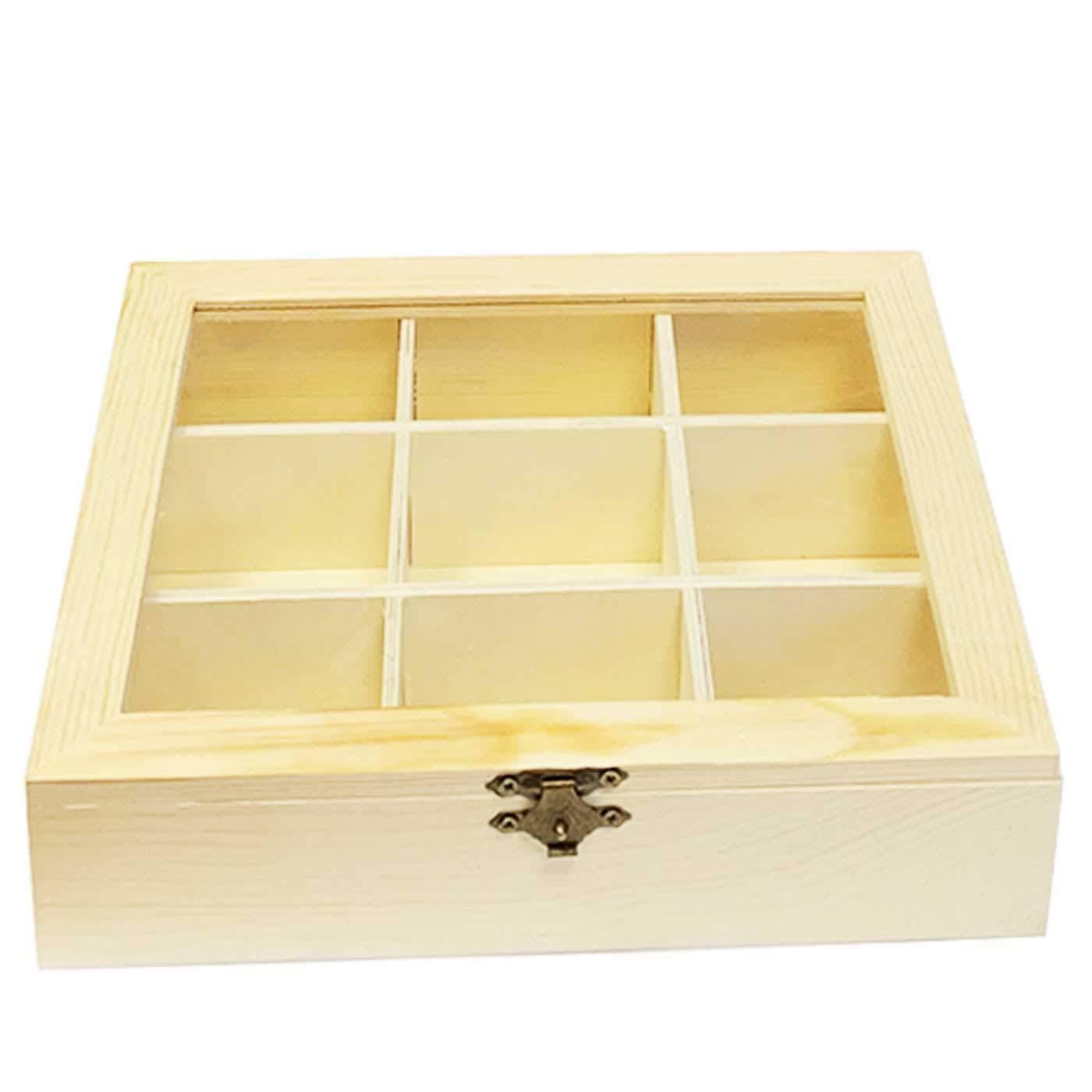 Caja de madera natural 9 compartimentos con tapa de cristal y cierre metálico 4.8 x 21.5 x 18 cm: Amazon.es: Hogar