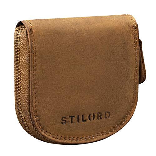 STILORD 'Cash' Weense doosje leder vintage munttasje met rits slanke minitasje kleine portemonnee schuddend tasje echt leder, Kleur:middel - bruin