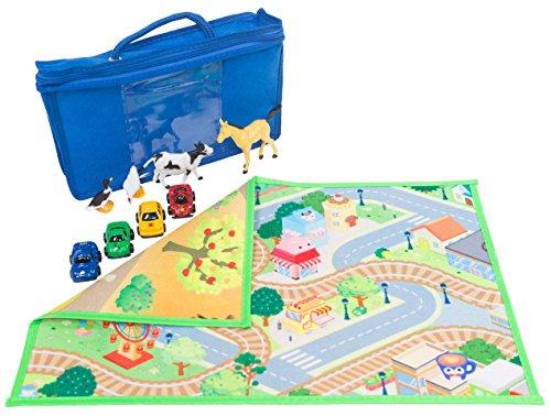 HOK Spielfläche Doppelseitig to Go mit 4 Autos und 4 Tieren und Reisetasche