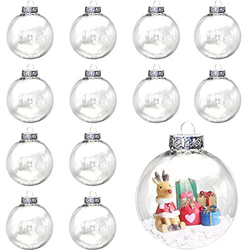 12pcs Bolas de Navidad Transparentes DIY Bolas Rellenables Bolas de Plástico Transparentes Bola Transparente Adorno de Esfera de Plástico Navidad Acrílico Bolas para Navidad Bodas Fiestas Adornos 6cm