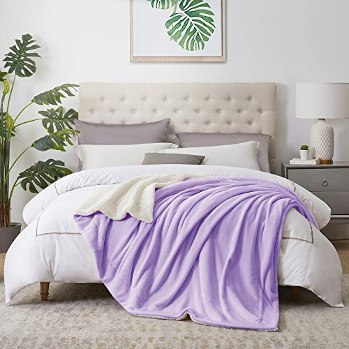 "Walensee Sherpa Fleece Blanket (Twin Size 60""x80"" Lavender) Plush Throw Fuzzy Super Soft Reversible Microfiber Flannel Blankets for Couch, Bed, Sofa Ultra Luxurious Warm and Cozy for All Seasons"