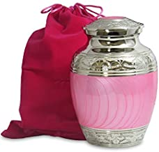 (Childs Urn) - Hugs and Kisses Beautiful Light Pink Child's Cremation Urn For Human Ashes - For a Lost Daughter or Baby Girl - Find Comfort and Peace With This Small Beautiful High Quality Urn - w Velvet Bag