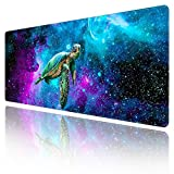 Extended Large Gaming Mouse Pad with Stitched Edges, XXL Mouse Pad Large (31.5x11.8 Inch) w/ Brilliant Design, Desk Mat Keyboard Pad with Anti Slip Base, Multifunctional Desk Pad - Galaxy Turtle