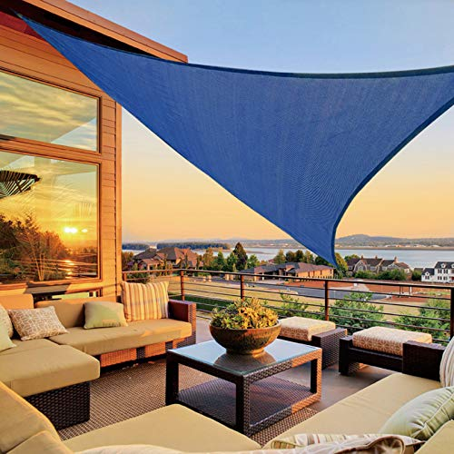 LOVE STORY 9'10'' x 9'10'' x 9'10'' Triangle Blue Sun Shade Sail Canopy UV Block Awning for Outdoor Patio Garden Backyard