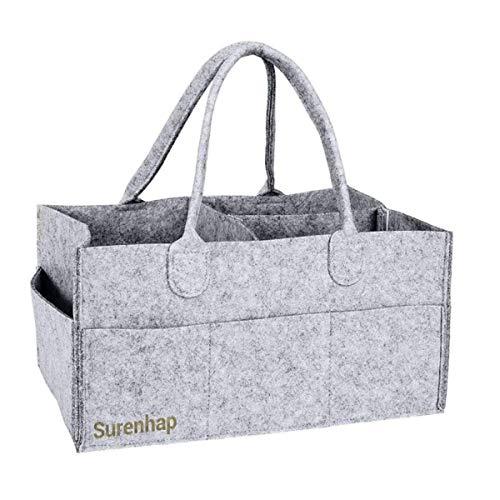 Surenhap Pliables Portables de Stockage de bébé avec des Compartiments, des Bouteilles et des Jouets Variables(Gris)