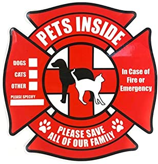 PETSAVERS Pet Inside Sticker Static Cling Rescue Window Decals with Bonus Pet Saver Wallet Card No Adhesive, Red, 4 Count