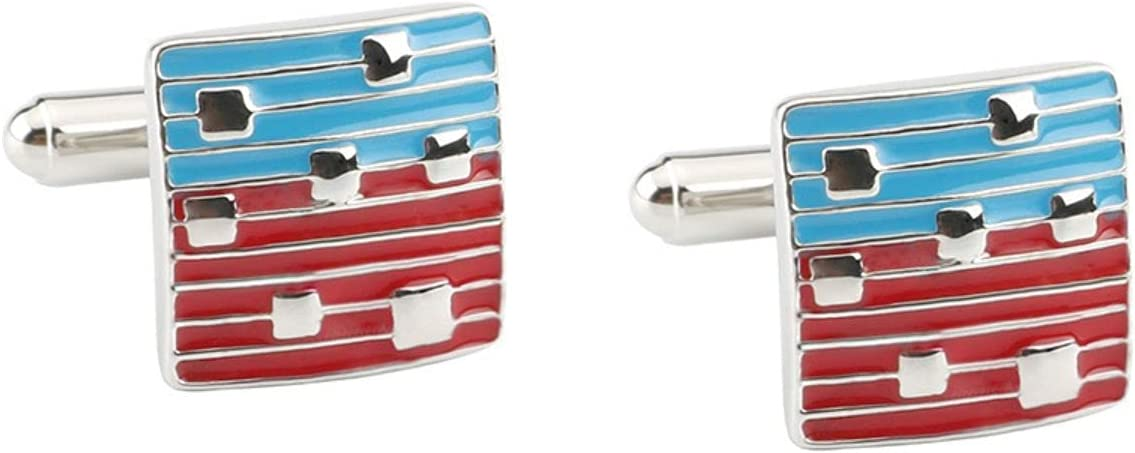 BO LAI DE Men's Cufflinks Red and Blue Striped Cuff Links Suitable for Business Events, Meetings, Dances, Weddings, Tuxedos, Formal Wear, Shirts, with Gift Boxes