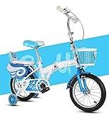 JBHURF Bicicletas Plegables para niños y niñas para Bicicletas Deportivas para niños de 2-8 años de Edad, 18 Pulgadas (Color : Azul)