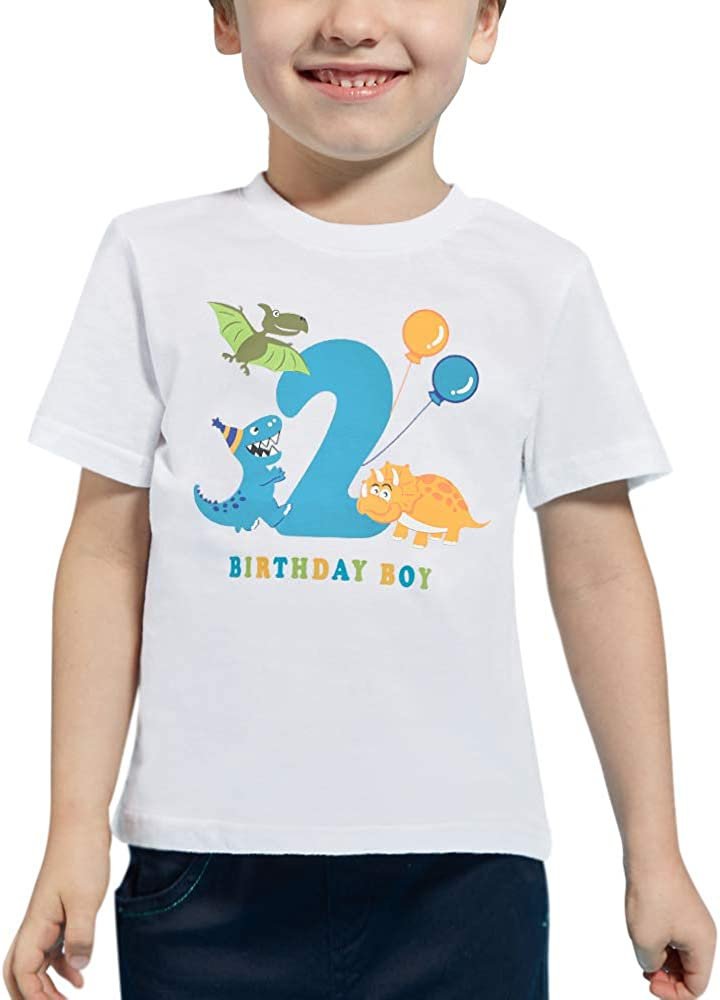 Dinosaur 2nd Birthday Shirt Boy 2 Year Old Toddler Dino B-Day Party Tee T-Shirt Gift