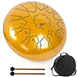Steel Tongue Drum, lotmusic13 Notes 12inch C key Handpan Drum Kit Tank Drum Percussion Instrument with Drum Mallets Padded Travel Carry Bag Music Book and Finger Picks for Beginner Adult Kids