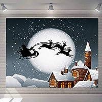 Semaxy タペストリー おしゃれ壁掛け クリスマス 多機能ファブリック装飾用品 月 スノーフレーク サンタクロース 鹿 パーティー リビング 模様替え 窓 部屋 個性ギフト(150*200)