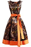 AINNIE CAMO Homecoming Dress Short Prom Gown Printed Camouflage Bridesmaid Dress Orange US2