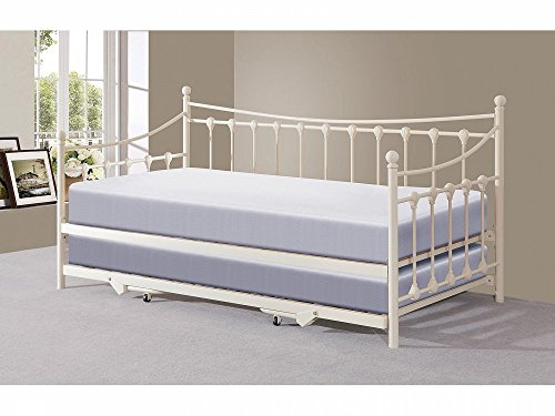 Home Source French Inspired Metal Guest Day bed and Trundle Set In Iv