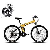 KuaiKeSport Bicicleta Montaña Plegable,Bikes Bici Plegable 24 Pulgadas,Bicicleta De Trekking para Niños Niñas Mujer Adultos Bicicletas de Doble Disco de Freno Mountain Bike Road Bicycle,Amarillo