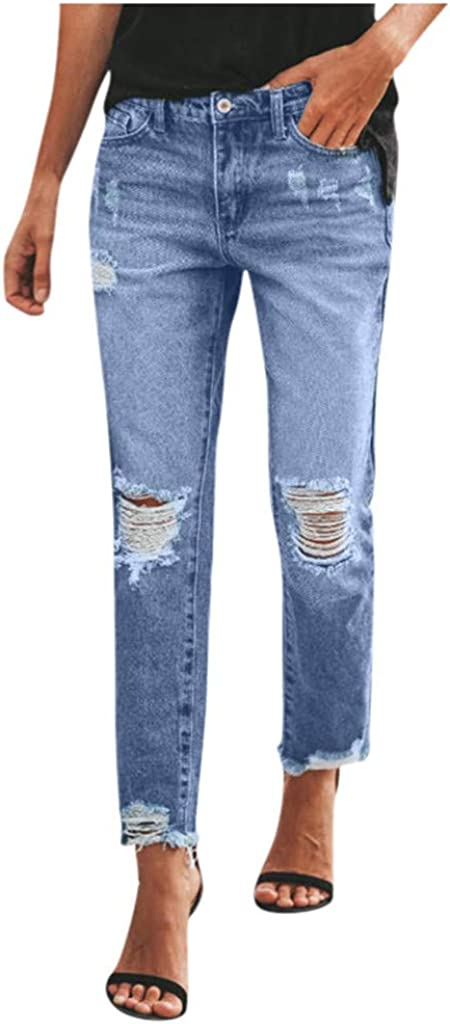 ZSBAYU Women Fashion Jeans Washed Casual Ripped Jeans Mid-Waist Slim Fit Female Hole Broken Jeans Denim Pants Trousers