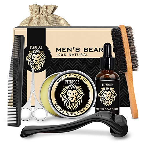 Beard Grooming Growth Kit for Men - Complete Mustache Care Set with Beard Growth Oil, Mustache Wax Balm, Derma Roller 0.25 mm, Brush, Comb, Scissors, Storage Bag, Perfect Gifts for Him Man Dad Husband