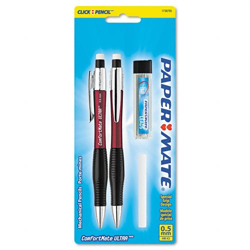 Paper Mate: ComfortMate Ultra - Juego de lápices para principiantes (AST BRL; 0,50 mm, 2 paquetes de 1, 2 unidades en total)