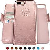 Dreem Fibonacci 2-in-1 Wallet-Case for iPhone 8-Plus & 7-Plus, Magnetic Detachable Shock-Proof TPU Slim-Case, RFID Protection, 2-Way Stand, Luxury Vegan Leather - Rose-Gold