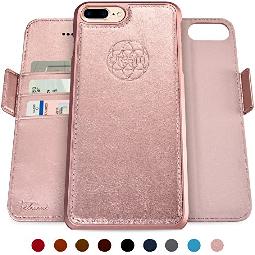 Dreem Fibonacci 2-in-1 Wallet-Case for iPhone 8-Plus & 7-Plus, Magnetic Detachable Shock-Proof TPU Slim-Case, Wireless Charging OK, RFID Protection, 2-Way Stand, Luxury Vegan Leather - Rose-Gold