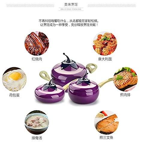 BAYSU Pan de cerámica Pan horneado Estufa electromagnética Cocina de Aluminio Venta de Fruta Color Potes de Olla y sartenes Wok (Color : Apple B)