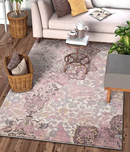 "Stella Lavender Vintage Shiraz Medallion Modern 8x11 (7'10'' x 10'6"") Area Rug Purple Distressed Oriental Carpet"