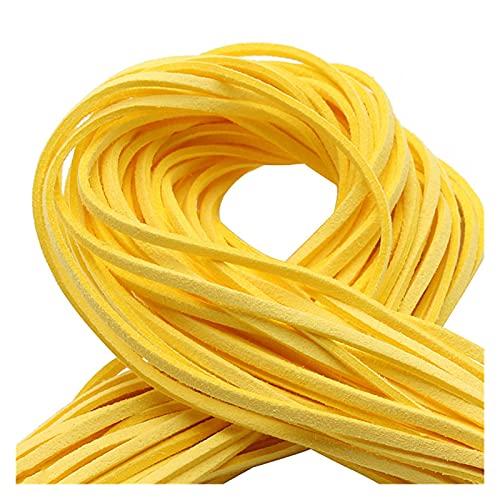 Range Cordón de Cuero y Cordones 20yard / Lote Flat Faux Suede Coreano Terciopelo Cordón de Cuero DIY Hilo de la Cuerda para la joyería Handicraft Decorative Accesorios (Color : Yellow)