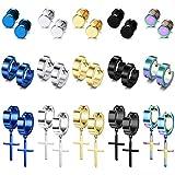 LOYALLOOK 15Pairs Stainless Steel Stud Earrings Cross Hoop Earrings Set for Men Women