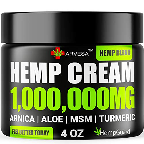 Hemp Pn Rlief Cream - 1,000,000 - Made in USA - 4OZ - Rlieves Muscle, Joint Pn - Lower Back Pn - Hemp Oil Extract with MSM - EMU Oil - Arnica - Turmeric