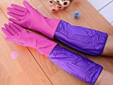 Nivera Reusable Rubber Latex Household Long Sleeves Safety Kitchen Gloves for Dish-Washing, Cleaning