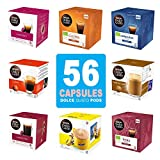 Nescafe dolce gusto capsules 8 different coffee pods flavors: Espresso, Americano, Nesquik etc - 56 capsules in set, fits any dolce gusto machine - Big variety Pack