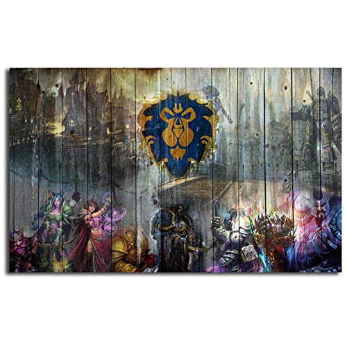 Mode Leinwand Malerei World Of Warcrafts Wow Alliance Gemälde Druck Schlafzimmer Home Decor Moderne Wandkunst Ölgemälde Poster Picturer No Frame Paintings 60 * 90cm